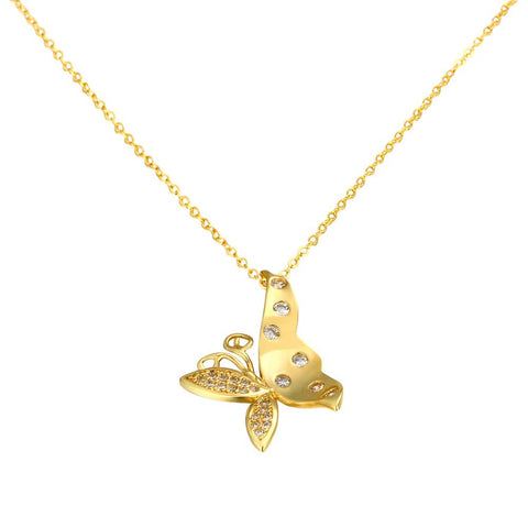Gold Plated Flying Butterfly Necklace - rubiquejewelry.com
