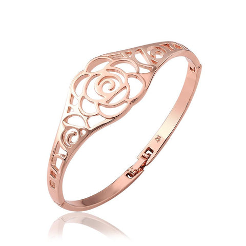 18K Rose Gold Hollow Rose Petals Bangle with Swarovski Elements - rubiquejewelry.com