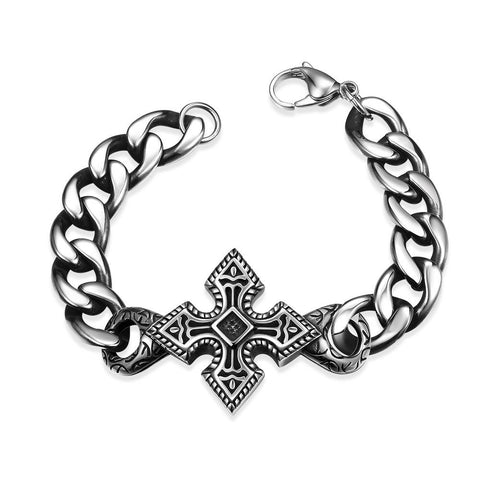 Mini Stainless Steel Cross Bracelet - rubiquejewelry.com