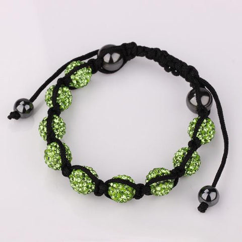 Hand Made Eight Stone Swarovksi Elements Bracelet- Bright Emerald - rubiquejewelry.com