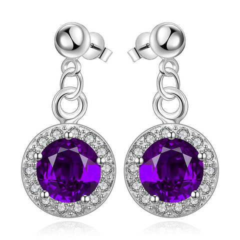 Sterling Silver Circular Purple Citrine Pendant Drop Earring - rubiquejewelry.com