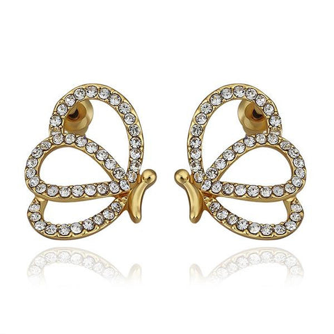 18K Gold Hollow Abstract Emblem Stud Earrings Made with Swarovksi Elements - rubiquejewelry.com