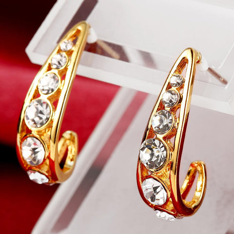 18K Gold 1/2 Hoop Earrings Covered with Jewels Made with Swarovksi Elements - rubiquejewelry.com