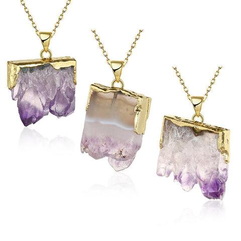 Amethyst Crystal Natural Crystal Necklace - rubiquejewelry.com