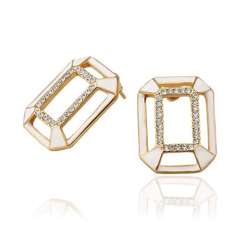 18K Gold Abstract Ivory Covering Studs Made with Swarovksi Elements - rubiquejewelry.com