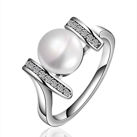 White Gold Plated Cultured Pearl Horizontal Lined Ring - rubiquejewelry.com