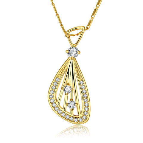 Gold Plated Harp Design Necklace - rubiquejewelry.com