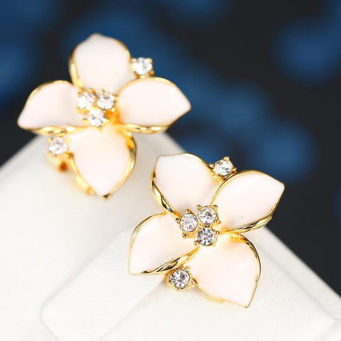 18K Gold Classic Ivory Rose Petal Earrings Made with Swarovksi Elements - rubiquejewelry.com