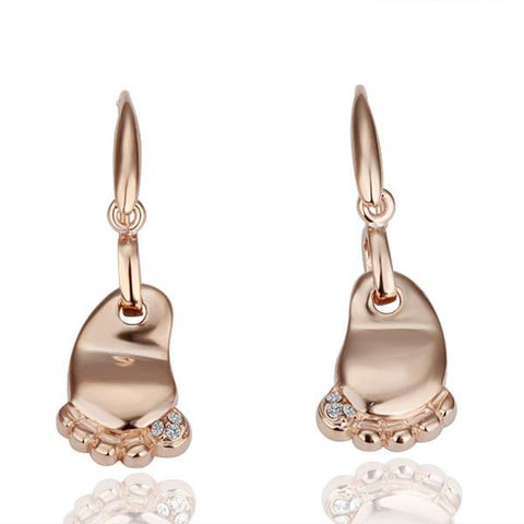 18K Rose Gold Cute Toes Earrings Made with Swarovksi Elements - rubiquejewelry.com