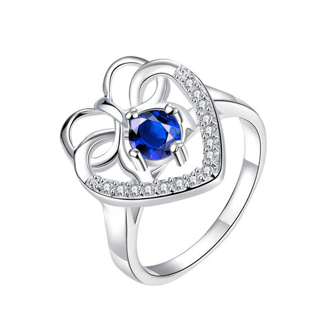 Curved Classic Mock Sapphire Love Ring - rubiquejewelry.com