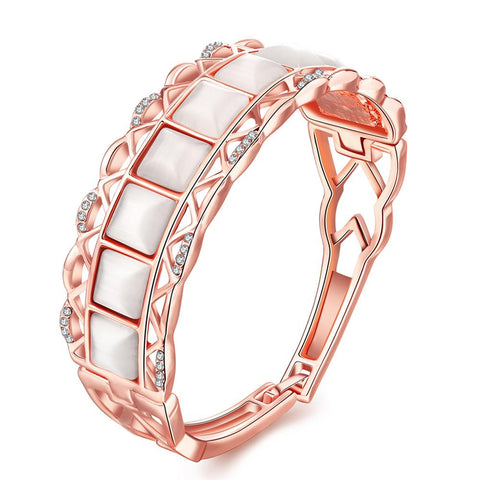 18K Rose Gold Bangle with Coral Gemstones with Swarovski Elements - rubiquejewelry.com