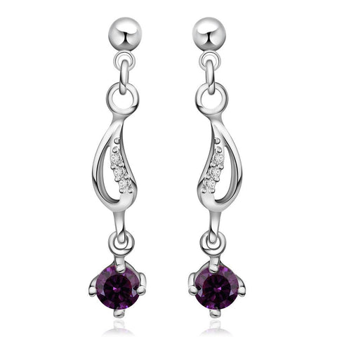 Sterling Silver Purple Citrine Gem Drop Drop Earring - rubiquejewelry.com