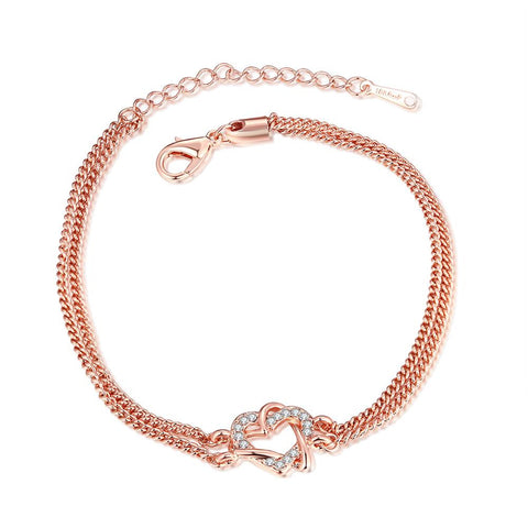18K Rose Gold Plated Interlocking Heart - rubiquejewelry.com