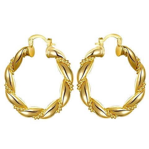 Gold Plated Polished Small Hinged Hoop Earrings - rubiquejewelry.com