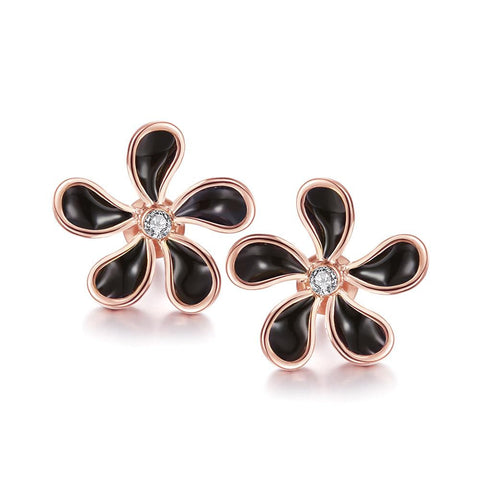 18K Rose Gold Floral Petal Stud Earrings Made with Swarovksi Elements - rubiquejewelry.com
