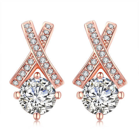 18K Rose Gold Plated Diamond Earring - rubiquejewelry.com