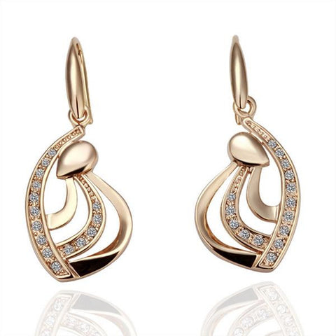 18K Gold Abstract Earrings Made with Swarovksi Elements - rubiquejewelry.com