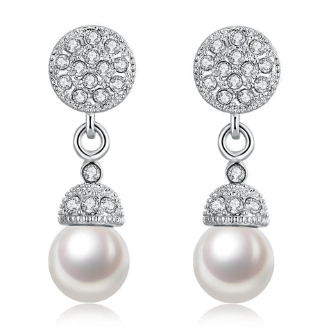 18K White Gold Plated Pearl Drop Earrings - rubiquejewelry.com