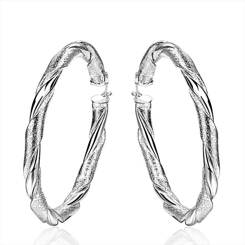 Sterling Silver Intertwined Classical Hoop Earring - rubiquejewelry.com