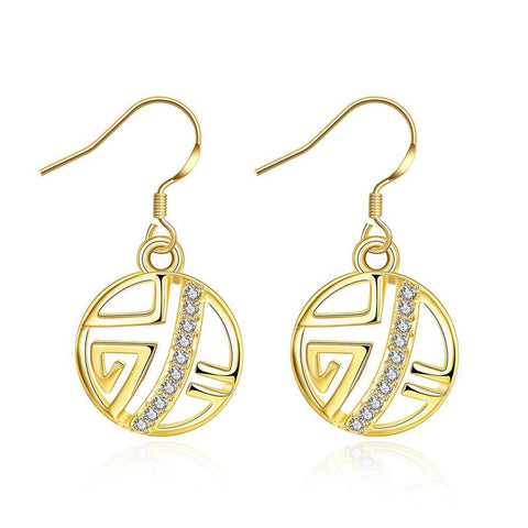 Gold Plated Laser Cut Circular Artistic Drop Down Earrings - rubiquejewelry.com