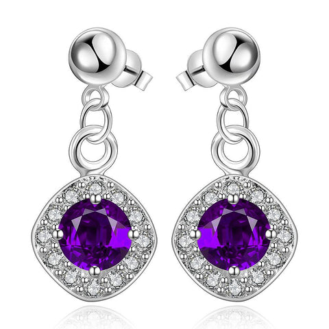 Sterling Silver Purple Citrine Classical Drop Earring - rubiquejewelry.com