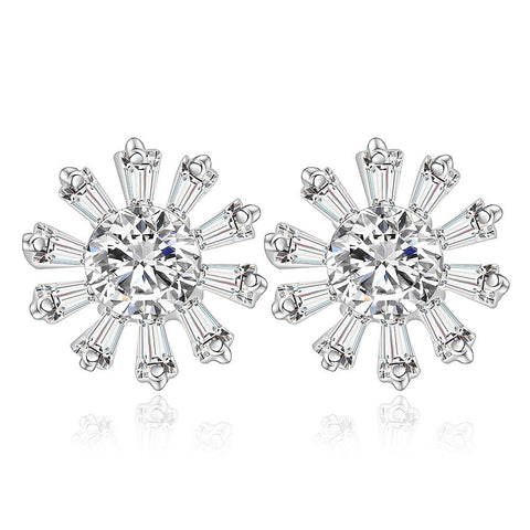Sterling Silver Blossoming Snowflake Earring - rubiquejewelry.com