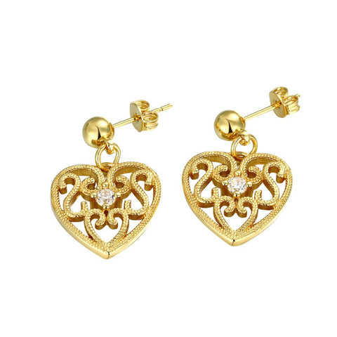 Gold Plated Laser Cut Classic Heart Studs - rubiquejewelry.com
