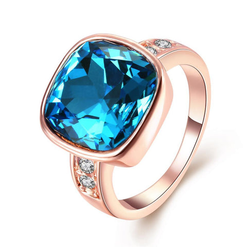 Rose Gold Plated Aqua Blue Stone Ring - rubiquejewelry.com
