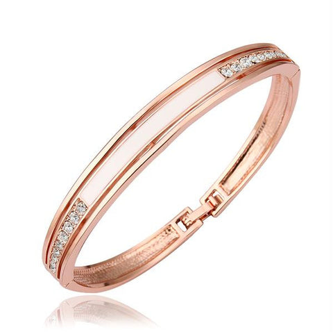 18K Gold Bangle with Ivory Plate Ingrained with Swarovski Elements - rubiquejewelry.com
