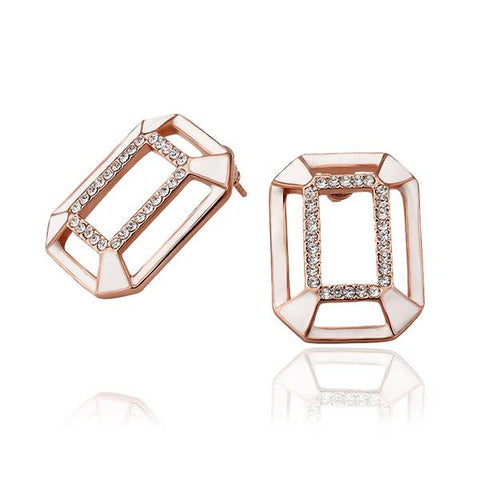 18K Rose Gold Abstract Ivory Covering Studs Made with Swarovksi Elements - rubiquejewelry.com
