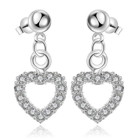 Sterling Silver Hollow Hearts Stones Encrusted Drop Earring - rubiquejewelry.com
