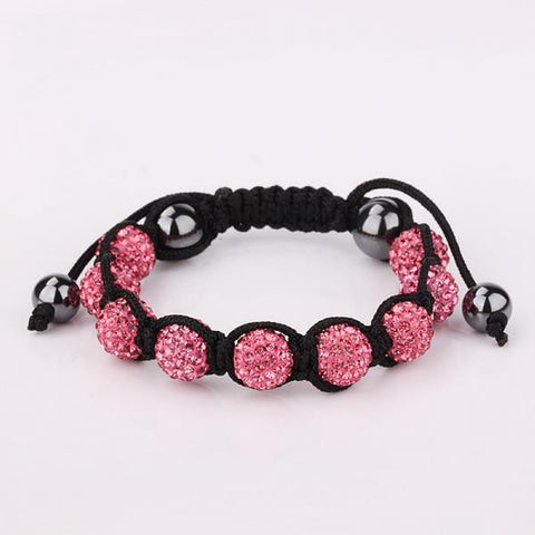 Hand Made Eight Stone Swarovksi Elements Bracelet- Bright Coral