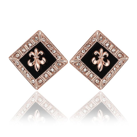 18K Rose Gold Diamond Shaped Emblem Input Stud Earrings Made with Swarovksi Elements - rubiquejewelry.com
