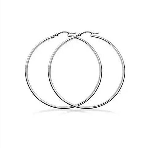 2mm Sterling Silver Haute Hoop Earrings - rubiquejewelry.com