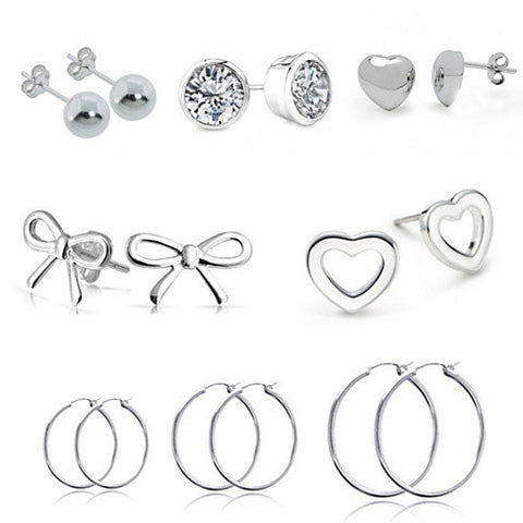 18K White Gold Plated 8 Pack Earrings (Includes a Bonus Gift and Free Gift Box) - rubiquejewelry.com
