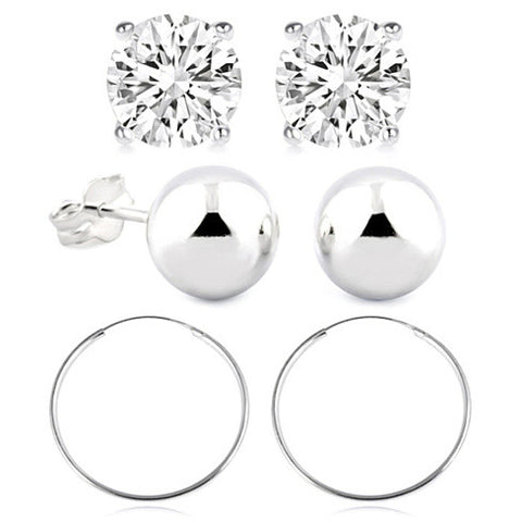 Sterling Silver Essential Ball and Hoop Earring Set - rubiquejewelry.com