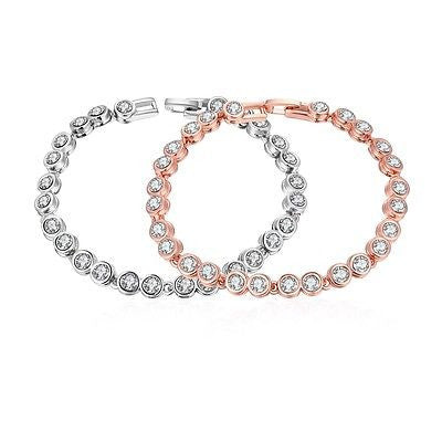 """Around the World"" 18K Rose Gold Plated Bracelet with Swarovski Elements - rubiquejewelry.com - 1"