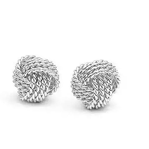 Sterling Silver Love Knot Stud Earrings - rubiquejewelry.com - 1