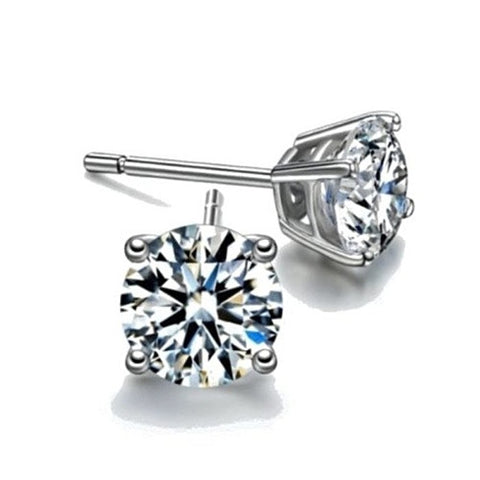 2ct Sterling Silver Round Simulated Diamond Studs - rubiquejewelry.com