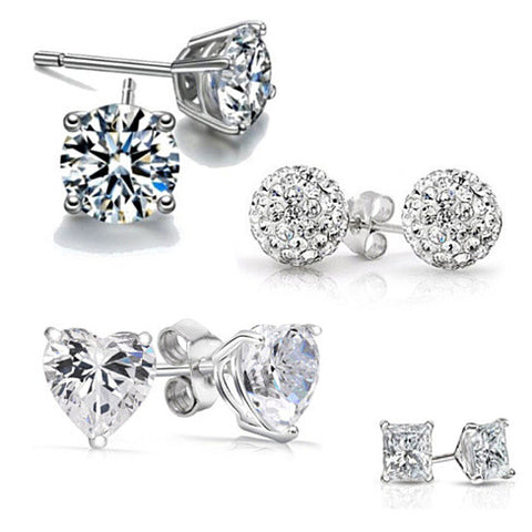 4 Pack: Austrian Crystal Sterling Silver Earrings - rubiquejewelry.com