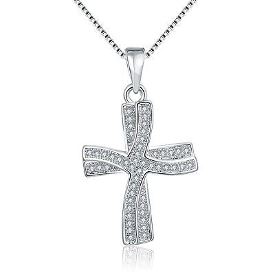 18K Italian White Gold Plated Cross Necklace with Swarovski Elements - rubiquejewelry.com