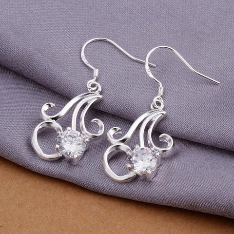 Sterling Silver Twisted Curved Abstract Earring - rubiquejewelry.com