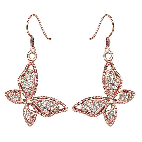 Rose Gold Plated Butterflies Drop Down Earrings - rubiquejewelry.com