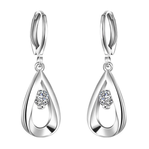 Sterling Silver Curved Metal Crystal Drop Earring - rubiquejewelry.com
