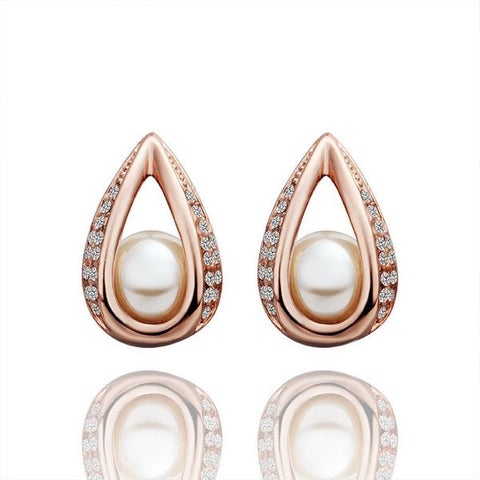 18K Rose Gold Hollow Acorn With Pearl Earrings Made with Swarovksi Elements - rubiquejewelry.com