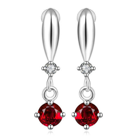 Sterling Silver Ruby Gem Vertical Drop Earring - rubiquejewelry.com