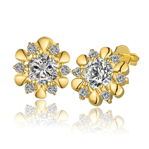 18K Gold Blossom Petal Stud Earrings Made with Swarovksi Elements - rubiquejewelry.com