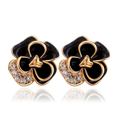 18K Gold Onyx Covering Floral Petal Stud Earrings Made with Swarovksi Elements - rubiquejewelry.com