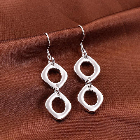 Sterling Silver Double Hollow Oval Shape Earring - rubiquejewelry.com
