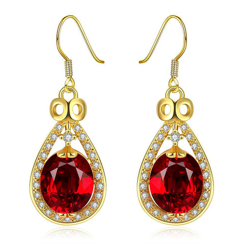 18K Gold Drop Down Earrings with Ruby Gem Made with Swarovksi Elements - rubiquejewelry.com